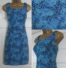 NEW EX Pepperberry Textured Jacquard Shift Dress Tunic Summer Floral Blue 8-18