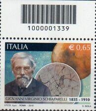 2010 francobollo Giovanni Virginio Schiaparelli CON CODICE A BARRE 1339