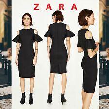 ZARA Black Tube Dress Knee Length Short Frilled Sleeve New Dress Sizes: S; M