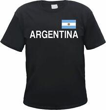 Argentina T-Shirt Nero/Bianco Con Bandiera, S a 3xl, ARGENTINA BUENOS AIRES