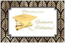Personalized GOLDEN GRADUATION Cap Art Deco PARTY INVITATIONS  Postcards