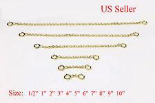 2 mm 14k gold filled Extender Safety Rolo Chain Necklace Bracelet spring lock
