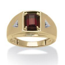 Men's 1.20 TCW Genuine Garnet and Diamond Accent Ring 10k Gold