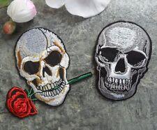 Aufbügler Applikation Aufnäher Totenkopf Skull Rose Ghost