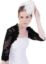 HBH Brautmoden Bolerojacke aus Lace Spitze, 1/2 Ärmel,Weiß,Ivory oder Schwarz