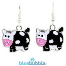 Bluebubble COWS GO MOO Earrings Funky Farm Cartoon Animal Kitsch Novelty Retro