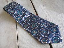 Pal Zileri Italy Mens Tie Silk #126 Navy Blue Flowers Geometric Floral Italian