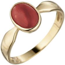 Anillo de mujer con coral rojo Ovalo 333 Oro Amarillo Joyería para el dedo