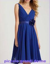 abito donna scollo a V cintura in raso con fiore vestito cerimonia damigella w12