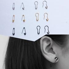 Simple Geometric silver black gold SAFETY PIN rock punk Earrings UK seller