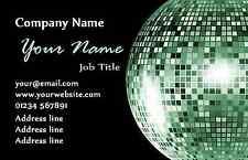 Noir et Vert Bal Disco cartes de visite personnalisées