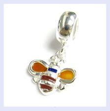 Sterling Silver Honey Bumble Bee Dangle Enamel Bead f/ European Charm Bracelet