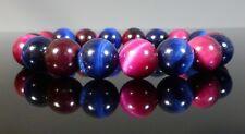 Pulsera De Ojos Rosa Azul Tigres grado AAA con cuentas de piedras preciosas