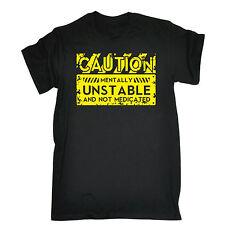 Precaución mentalmente inestable mental Camiseta Loco superior actual Moda Regalo De Cumpleaños