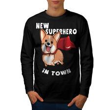 Corgi Superhero Men Long Sleeve T-shirt NEW | Wellcoda