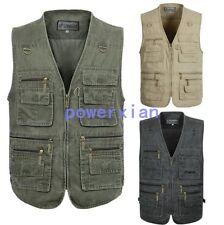 Mens Casual Cargo Zipper Camera Fishing Job Waistcoat Multi-Pockets Chic Vests