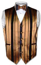 Men's Dress Vest & BOWTie GOLD & BLACK Color Woven Striped Design Bow Tie Set