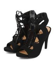 New Women Delicious Elora Nubuck Peep Toe Gilly Tie Single Sole Stiletto Sandal