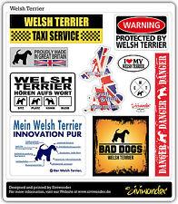 Auto Aufkleber Sticker WELSH TERRIER COLLECTION DOG warning Sammlung SIVIWONDER