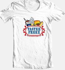 Tastee Freez T-shirt retro diner 100% cotton graphic printed white yellow tee