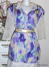 ESPRIT collection Neu Seiden Long Bluse Tunika Gr M 38 Blurry silk Blouse Dress