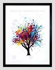PAINT SPLAT ABSTRACT TREE RAINBOW BLACK FRAME FRAMED ART PRINT PICTURE B12X9387