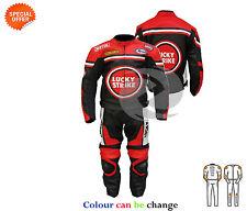 Chaqueta de cuero rojo y pantalón a juego Lucky Strike estilo traje de dos piezas en Rojo