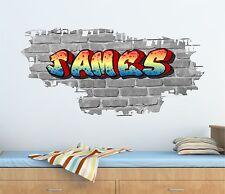 Personalizado Graffiti ladrillo y nombre pegatinas de pared, Calcomanía, Gráfico tr34 Bw