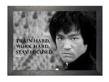 Bruce Lee 3 motivación Artes Marciales icono leyenda trabajar duro cita Foto Poster