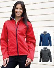 Ladies Womens BLACK RED or BLUE Waterproof Fleece Lined Soft Shell Jacket Coat