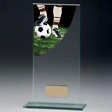Fußball Jadegrün Glas Trophy 5mm dick in 4 Größen, Gratis Gravur bis zu 30