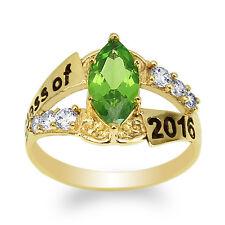JamesJenny 10K Yellow Gold 2016 Graduation Ring Marquise Peridot CZ Size 4-9