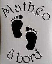 Sticker empreinte de pieds, bébé à bord personnalisable, voiture, moto etc.....