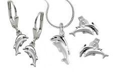 925 ECHT SILBER Delfin Delphin Delfinpaar Ohrringe-Ohrstecker-Anhänger-Kette-Set