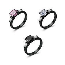 Fashion Women Jewelry 14kt Black Gold Filled Elegant Wedding Ring Size 6-10