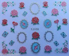 3D Nail Art Adesivi Decalcomanie san valentino wedding ROSES LOVE Lettera Cuore TJ108
