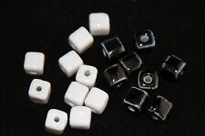 10X10MM BLACK&WHITE BEADS SQUARE CUBES (20Pcs)