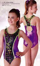 NWT Girls Acro Gymnastic Leotard Racer Keyhole back Foil croc print Lime Plum
