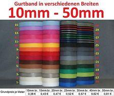 Gurtband 12 Meter, verschiedene breiten, 1,4 mm dick in 30 Farben