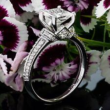 1.96CT HUGE PRINCESS CUT NATURAL DIAMOND ENGAGEMENT RING 14K WHITE GOLD ENHANCED