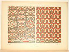 Stampa antica stile arabo MOSAICI MURALI 1885 Old Print Arabian Style
