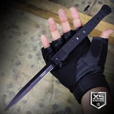 "Large STILETTO 13"" Long Black G10 Spring Assisted Pocket Knife Tactical"