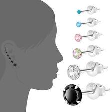 Ohrringe 2er Silber Sterlingsilber 925 Ohrstecker Kinder Weiß 2 3 4 5 6 7 8mm
