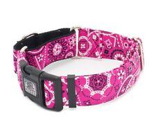 """Dog Collar Pink Paisley Bandanna 5/8"""" - 2"""" Width Caninus Collars"""