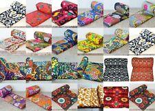 Indian Handicraft Jaipuri Kantha Blanket Quilt Twin Vintage Cotton Bed Cover