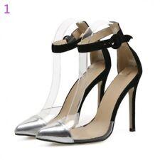 zapatos de salón sandalias cinturón élégant tacón aguja 11 plata como piel 8274