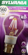 PACKS OF CLASSIC 5.5W BC BAYONET CAP LED SYLVANIA GLS BULB  DIMMABLE  0027109