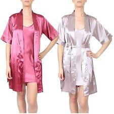 New Ladies Lingerie Sleepwear Nightwear Satin Gown Dressing 8-18