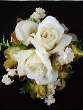 Wedding Prom Metallic Gold Cream Rose Flowers Wrist Corsage Boutonniere