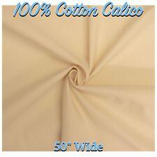 "CALICO 100% Cotton Natural Cream Calico 50"" Wide Fabric Material (Per Metre)"